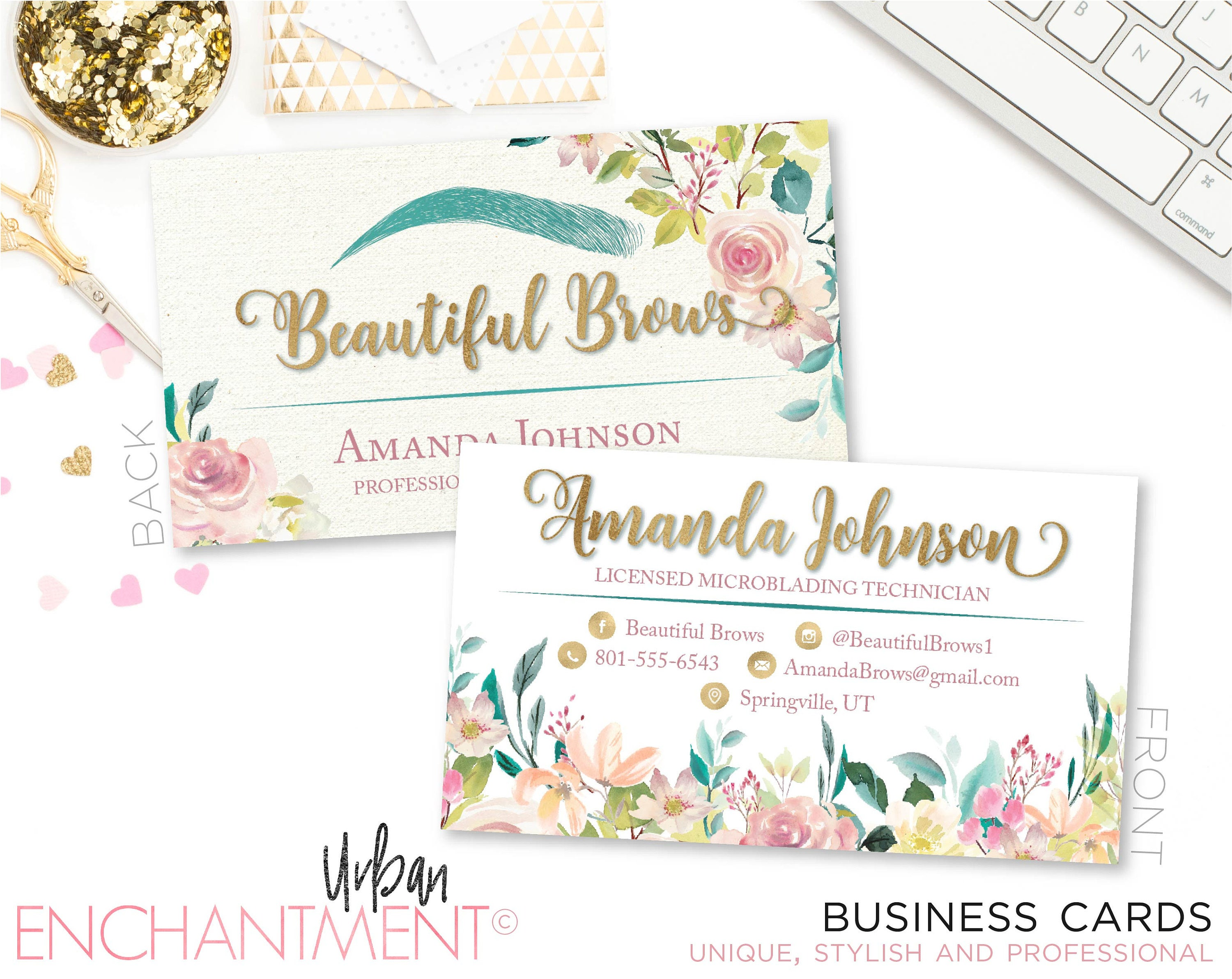 Microblading Business Card. FLORAL PINK. Cosmetologist