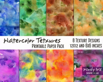 Watercolor Textures Printable Paper Pack of 8x Colorful Papers 6x6 Inch and 12x12 Inch, Digital Papers and Collage Backgrounds by Windy Iris
