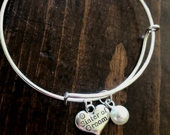 SALE!  Sister of the groom gift, sister of the groom bracelet, sister of the groom bangle, sister of the groom personalized bracelet,