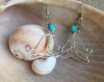 Lotus Pose Wire Earrings with Turquoise Bead Head