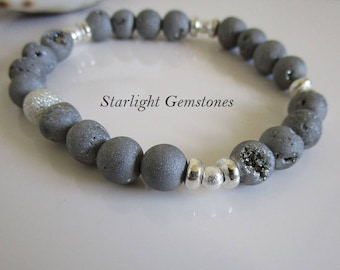 Grey/Silver Druzy Geode Glam Gemstone Bracelet with Sterling Silver Spacers and Silver Plated Stardust Spacer