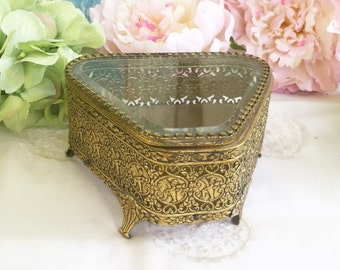 Vintage Victorian Jewelry Box, Ormolu Casket, Angel Cherub, Beveled Glass, Triangle. Gold Filigree, Floral Dresser Vintage trinket box