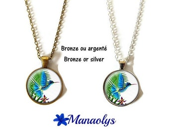 Hummingbird or necklace sautoir Hummingbird, exotic, cabochons glass, silver or bronze backings