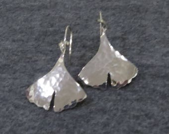 Sterling Silver Hammered Ginkgo Earrings
