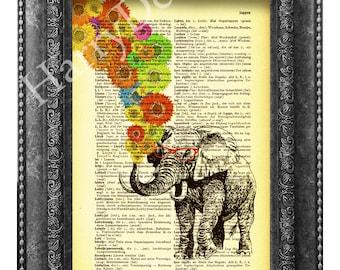 Elephant with Colorful sunflowers,  Elephant Print, Elephant wall art, Vintage Dictionary art print home decor