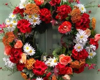Geranium Wreath,Door Wreath, Summer Wreath, Red / Orange Wreath, Door Decoration, Silk Floral Design, Silk Flower Wreath, Spring Wreath