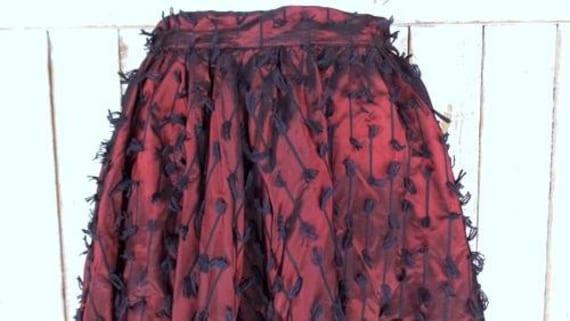 full 50s circle midi vintage black high 1950s waist skirt circle yarn skirt skirt dark Adelaar red swing 17qSYw1r