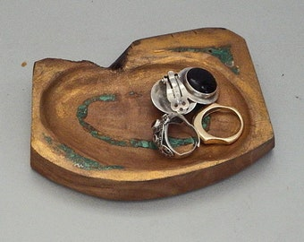 Olivewood Jewelry Dish with Malachite Stone Inlay