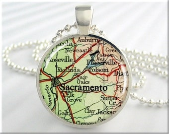 Sacramento Map Pendant, Resin Charm, Sacramento California Map Necklace, Picture Jewelry, Gift Under 20, Round Silver, Map Charm 661RS