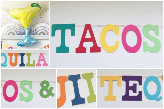 Fiesta banner balloon 5 inch letters tacos and tequila banner fiesta decorations colorful fiesta birthday party margarita party banner