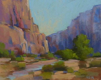 Contemporary Landscape Southwest Zion National Park Original Pastel Painting 8x10 by Karen Margulis psa