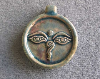 One or Five Raku Buddha Eyes Pendants, Peruvian Ceramic