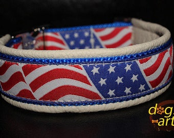 """Dog Collar """"USA Flag"""", flag dog collar, usa dog collar, american flag, american flag collar, memorial day, independence day, dog collar"""