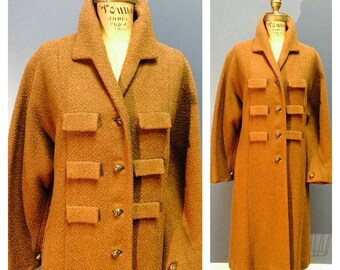 DOUBLE DESIGNER LABEL Forstmann Brock's Almond Brown Vintage 1950's 1960's 1950s 1960s Military 6-Flap Virgin Wool Coat w Charmeuse Satin M