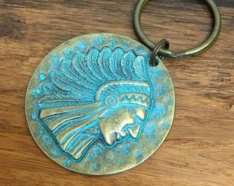 Native Indian keychain, patina keyring, metal keychain, oils keychain, lava bead keychain, keyring, key ring, American Indian, keyring