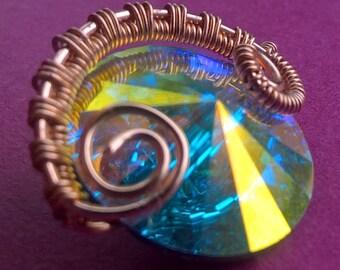 Swarovski button wire wrapped pendant