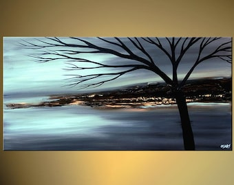 Blue Landscape Tree Painting   Modern Acrylic Painting Partially Textured by Osnat - MADE-TO-ORDER