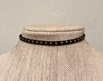 Gold Stud Black Suede Choker • Simple Choker Necklace • Layering Necklace