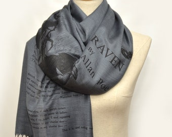 The Raven by Edgar Allan Poe  Shawl Scarf Wrap (Bluish Gray)