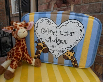 Baby Boy Suitcase for his first year of treasures and priceless memories what is your theme/ colors send me a pic of your bedding