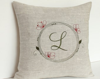 Family Monogram pillow Personalized pillow Monogrammed Family pillow Throw pillow Embroidered pillow floral frame