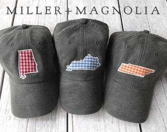 State Outline Cap with Monogram | ANY STATE |  Monogram Ball Cap | Monogram Cap | Monogram Hat | Monogrammed Cap