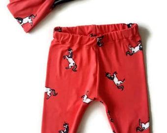 Unicorn baby leggings, girl headband and legging set, unicorn print baby clothes, turban headband set, baby gift, trendy toddler, new mom