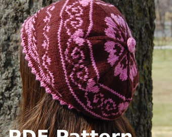 Berry Sweet Beret - Knitting Pattern PDF