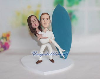 mermaid wedding cake topper, groom holding bride, groom holding mermaid, mermaids, surfboard, custom mermaid cake topper, mermaid bobblehead