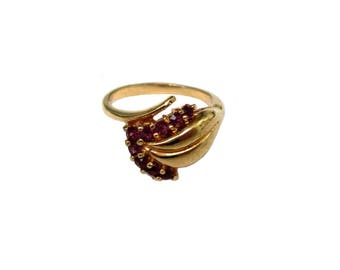 Double ring red stones, gold-plated Gr. 55, gold plated ring red stones US size 7.2 UK size O fashion jewelry