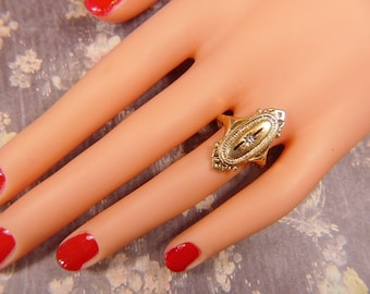 Vintage AVON Signet Style Gold and Rhinestone Ring -- Size 5.5 - R-330