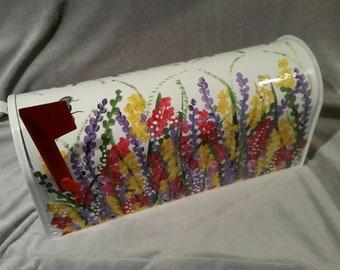 wildflowers design hand painted mailbox