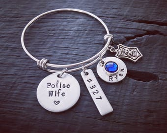 Police Wife Bracelet | Police Officer Wife Jewelry | Law Enforcement Jewelry | Law Enforcement Bracelet | Gift For A Police Officer's Wife