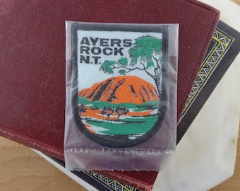 Vintage Ayers Rock Souvenir Woven Patch, , Embroidered Sew On Badge,  Uluru Northern Territory, Australia patch