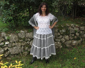 Grey skirt with ruffle fabric wool herringbone with lace