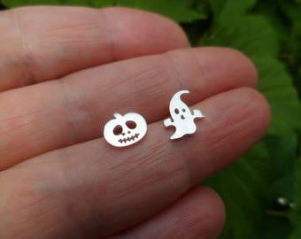 925Silver.  Tiny stud earrings Halloween,  Spirit, Jack o Lantern,  Mismatched Studs,  Women Gift