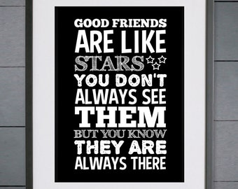 EllieBeanPrints Good Friends Are Like Stars Print - Various Sizes