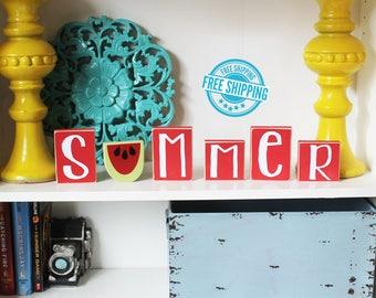 Summer Blocks- Summer Decor, Watermelon Decor, Summer Wood Sign, Watermelon Wood Sign, Summer Sign, Watermelon Sign, Wood Watermelon
