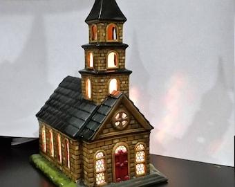 Ceramic Lighted Church, Christmas Church, Musical Church