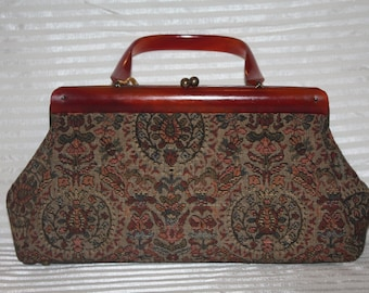Vintage 1950's Tapestry Purse w/ Bakelite Handle