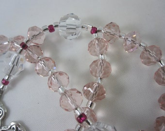 Pink Chinese Crystal and Clear Egyptian Crystal Prayer Beads with Sterling Silver Cross