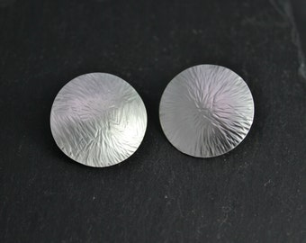 Sterling Silver Disc Earrings, Textured Studs, Big Circle Earrings, Recycled Silver, Big Silver Disc Studs, Ready to Ship Earrings
