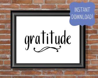 Thanksgiving Print - Thanksgiving Decor - Gratitude Printable - Hostess Gift - Instant Download Print - Printable Wall Art - Fall Decor