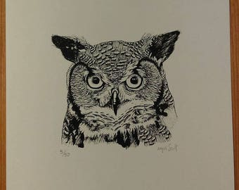 Limited Edition Inked Great Horned Owl Print
