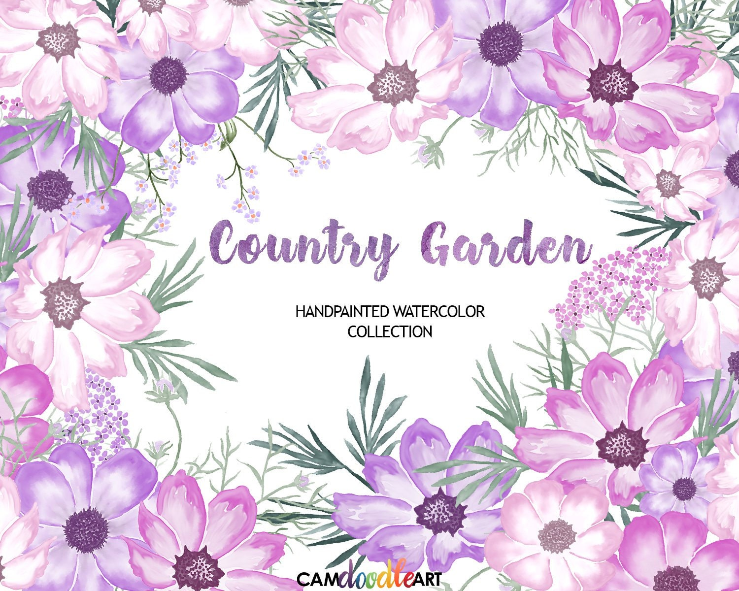 Pink And Purple Watercolor Flowers Clipart SetHand Painted FlowersWatercolor BouquetsScrapbooking