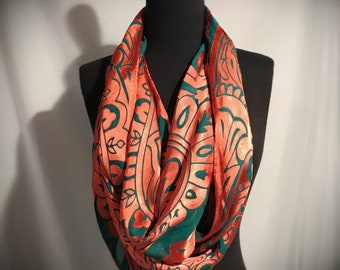 Art Nouveau Burnout Silk Scarf//Large//Turquoise//Copper//Original//Gift for Her//