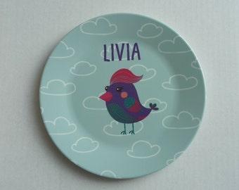 Personalized children's Plate bird 19.5 cm