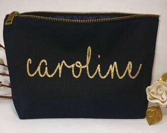 Personalized  Makeup bag - Bridesmaid makeup bag  - cosmetic bag- Bride makeup bag - Birthday gift - makeup bag - Canvas bags - Unique Gifts