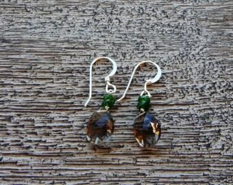SMOKY QUARTZ earrings. Faceted briolette gemstons. Rare aaa superior quality. Natural Green VESUVIANITE. S.S.  Elegant/ Boho/ woodland/