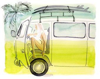 Surf Art, Limited Edition Art Print, Watercolor Painting, Lifestyle Art, Hawaii Art